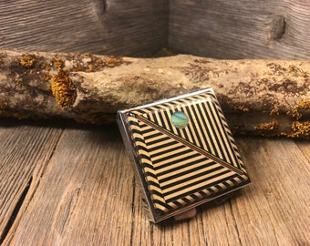 Wood/ Wooden Pill box: Geometrically designed Ebony and Maple, 4 partitions, 1 compartment