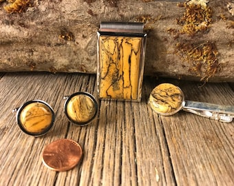 3-Piece Wooden Dresswear Accessory Combo Set: Tie Clip, Cufflinks and Money Clip ( Spalted Tamarind)
