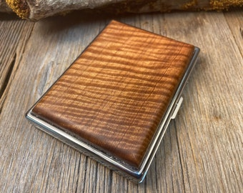 Wood/ Wooden, Business/ Credit card, Wallet, Cigarette Case: AAAAA Gallery grade extremely curly Sateen wood
