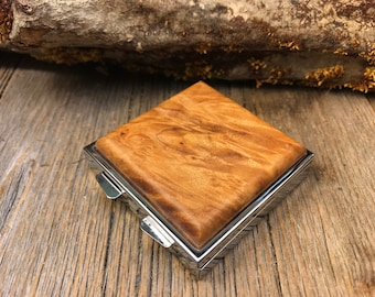 Wood/ Wooden Pill box/ Keepsake container: AAAA Gallery Grade Quilted Maple, 4 partitions, one compartment