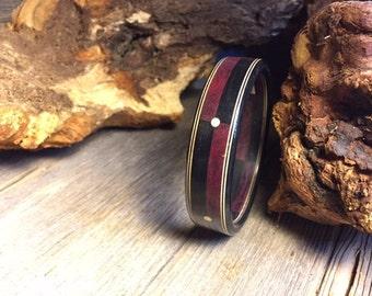 Wood/ Wooden Bracelet: Gaboon Ebony, Purple heart, Holly, Brass