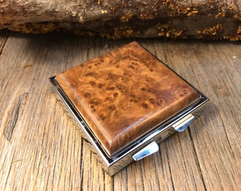 Wood/ Wooden Pill Box/ Keepsake container: AAAAA Morrocan Thuja Burl, 4 partitions, 1 compartment