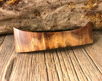 Wood/ Wooden Hair Barrette: Curly Koa (Large)