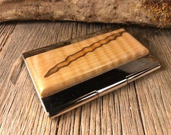 Wood/ Wooden Business Card/ Credit Card Case/ Holder: Curly maple