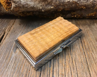 Wood/Wooden pill box/ Keepsake container : Rived curly ash , 7 partitions, 1 compartment