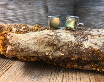 French Cufflinks: Rare Green Fire Labradorite, 14/17mm square