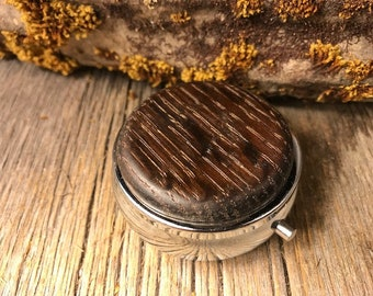 Woode/ Wooden pill box: Torified Ash, 4 compartments