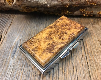 Wood/ Wooden Pill box/Keepsake container: Gallery Grade AAAAA Spalted Birdseye maple Burl, 7 partitions, 1 compartment