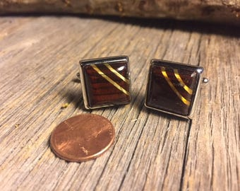 Wood/ Wooden Cufflinks: Coco Bolo, 14/17 mm, square