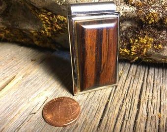 Wooden Money clip: Rosewood ( Chromed Steel)
