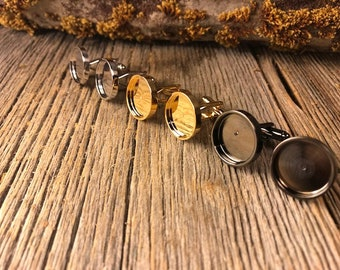 French cuff link blanks,silver, gold, gunmetal black,  16.2 mm, one pair, Bezel/ Tray set, round