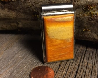 Wood/ Wooden Money Clip: Yellow Pine ( Chromed Steel)