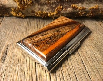Wood/Wooden Wallet/ Credit Card? Business Card Case: Old Growth Gallery Grade Spalted Florida Mahogany