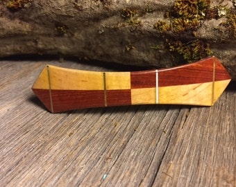Wooden Hair Barrette: Bloodwood & Maple (Large)