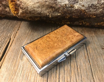 Wood/ Wooden Pill box/ Keepsake container: AAAAA Gallery Madrone Burl, 7 partitions, 1 compartment