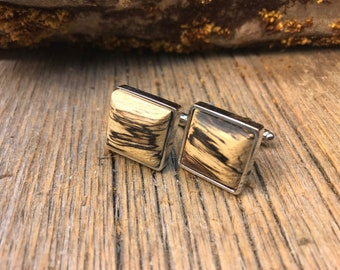 Wood/ Wooden French Cufflink: AAAAA Gallery Grade Spalted Tamarind, square, 16/18 mm