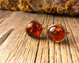 French Cufflinks: Baltic Amber, 16 mm, round