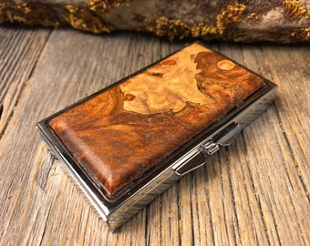 Wood/ Wooden Pill Box: AAAAA Gallery grade Spalted White Oak Burl, 7 partitions