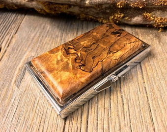 Wood/ Wooden Pill box: AAAAA Spalted White Oak Burl, 7 partitions