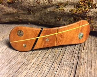 Wood/ Wooden Hair Barrette: Madrone Burl (Large)