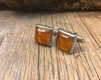 French Cufflinks: Baltic Amber, 14/17 mm, square