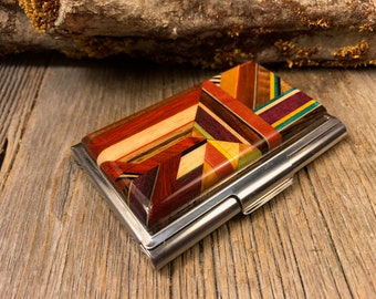 Wood/ Wooden Credit Card/Business Card case/ holder:  Kunterbunt, Multiple natural and colored woods