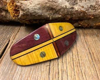 Wood/ wooden Barrette/ Hairclip : Curly maple/ Purple heart ( Medium)