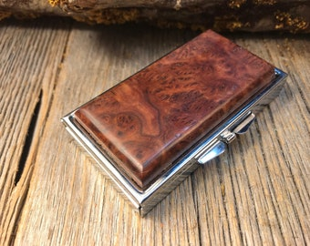 Wood/ Wooden  Pill box/ Keepsake container: AAAAA Amboyna Burl, 7 partitions, 1 compartment