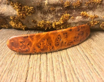Wood/ Wooden Hairbarrette: AAAAA Thuja Burl (Large)