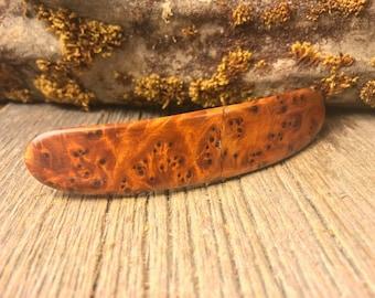 Wood/ Wooden Hairbarrette: AAAAA MoroccanThuja Burl (Large)