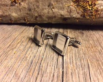 French Cufflink Blanks, silver, one pair, Bezel/ Tray set, square, 14/17 mm