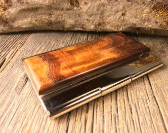 Wood/ Wooden Business Card/ Credit Card Case/ Holder: Gunstock grade AAAAA French Claro Walnut