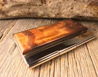 Wood/ Wooden Business Card/ Credit Card Case/ Holder: Gunstock grade AAAAA French Claro Walnut