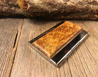Wood/Wooden Business Card/ Credit Card case/ Holder: AAAA Gallery grade Spalted  Maple Burl