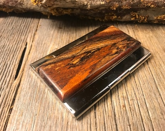 Wood/Wooden Business Card/ Credit Card case/ Holder: AAAA Gallery grade Antique Spalted  Florida Mahogany