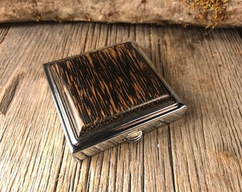 Wood/ Wooden Make up mirror / Compact case: Black Palm