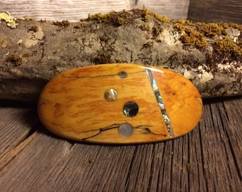 Wooden Hair Barrette: Spalted Maple Burl (Medium)