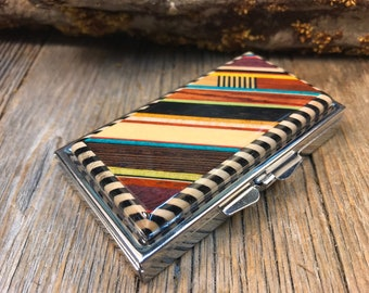 """Wood/ Wooden Pill box: """"Kunterbunt delux"""", Multiple natural exotic and colored woods, 7 partitions, 1 compartment"""