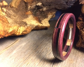 Wood/ Wooden Cuff Bracelet: Purple heart, Gaboon Ebony, Holly, Abalone