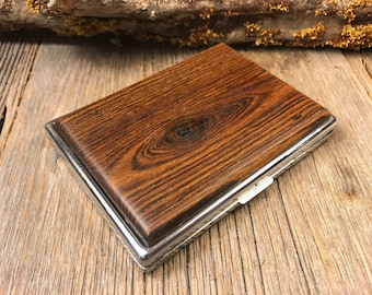 Wood/ Wooden ,Business/ Credit card,Wallet, Cigarette Case: AAAAA Gallery grade Brazilian Rosewood