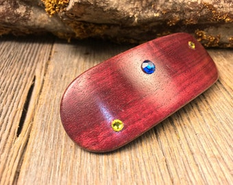 Wood/ Wooden Barrette/ Hair Barrette: Purple Heart ( Large)