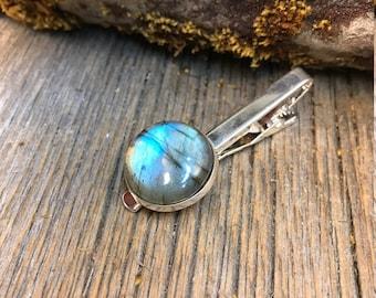 Tie clip: Blue Fire Labradorite, 20 mm, round