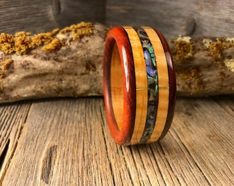 Wood/ Wooden Cuff Bracelet: Curly maple, Orange osage, Ebony, Abalone