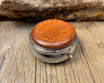 Wood/ Wooden Pill box/ case: AAAAA Gallery grade Australian Lace wood, 3 Compartments, 1 Compartment