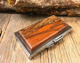 Wood/Wooden Pill box/Storage container: Old Growth Gallery Grade Spalted Antique Florida mahogany, 7 partitions, 1 compartment