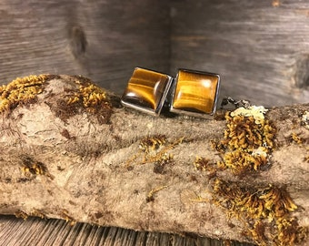 French Cufflinks: Tiger's Eye Quarts, 14/17 mm, square