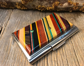 Wood/Wooden Wallet/ Credit Card/ Business Card Case: Natural and colored exotic woods, RFI proof