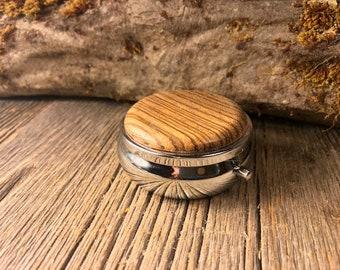 Wood/Wooden Pill / Keepsake Box: Zebrawood
