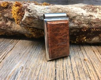 Wood/ Wooden Money Clip: Redwood Lace Burl (Chromed Steel)