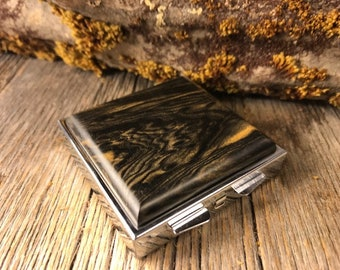 Wood/ Wooden Pill Box: AAAA Black and White Ebony, 4 partitions